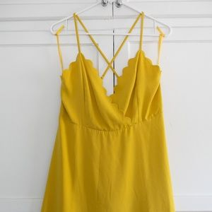 NEW Mustard Dress Cross back spaghetti straps